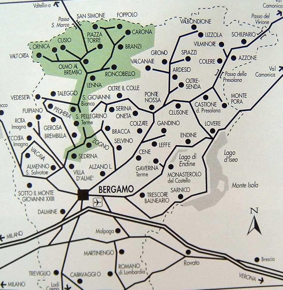 Val Brembana cartina